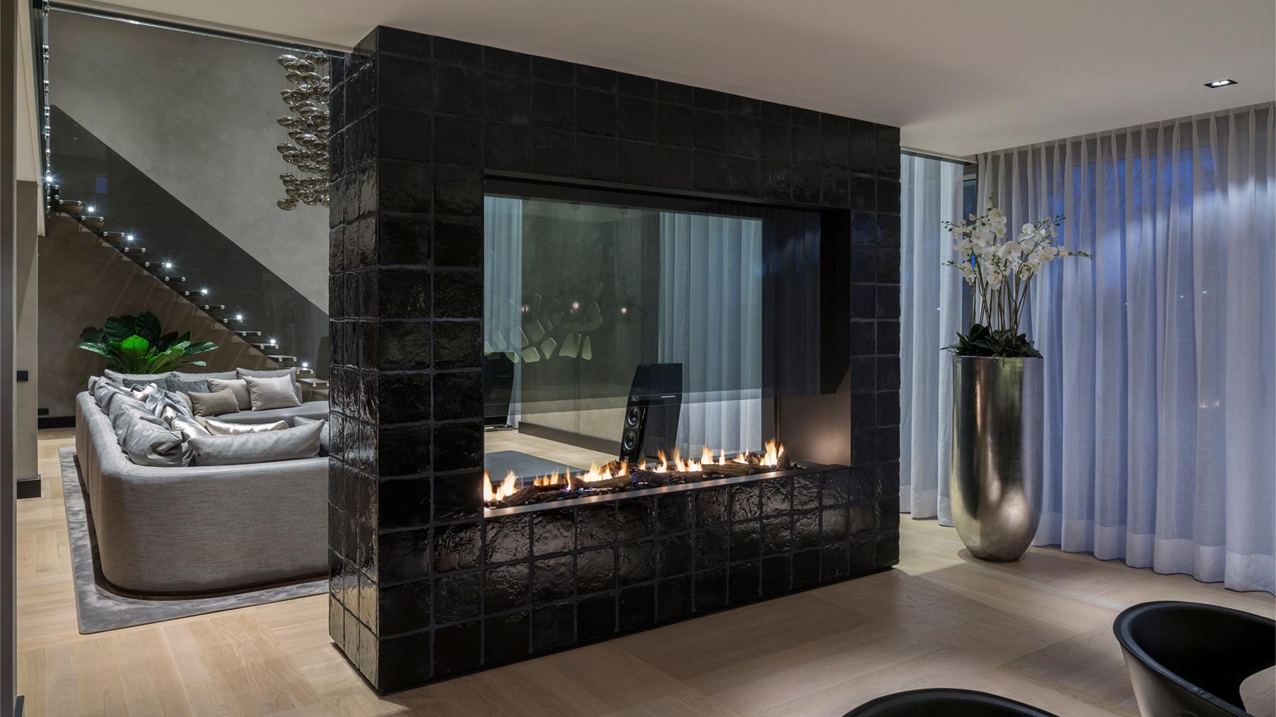 large designer fireplace