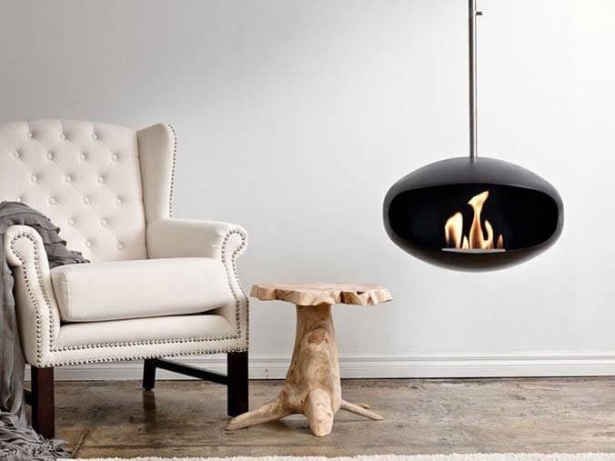 Cocoon ceiling mounted bioethanol fireplace