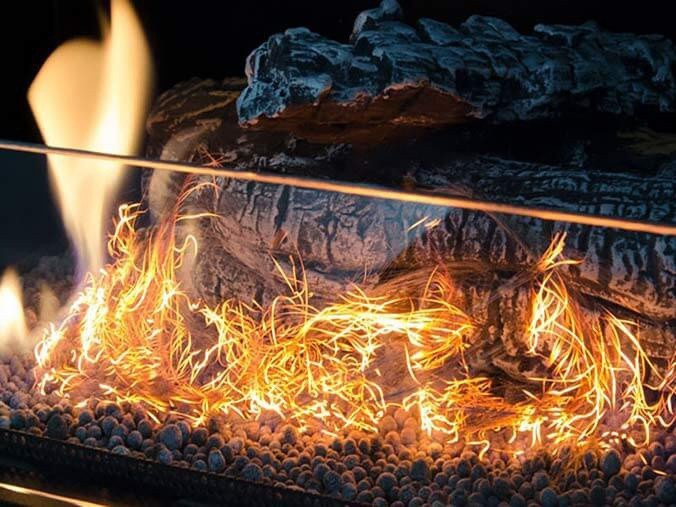 Glows for bioethanol fireplaces