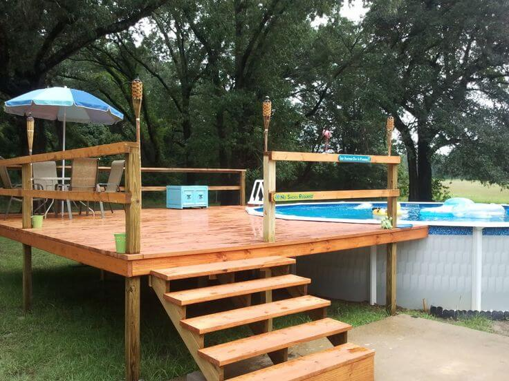 above ground pool deck ideas on budget 12