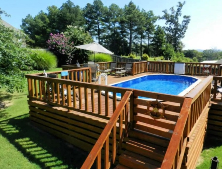 above ground pool deck ideas on budget 5