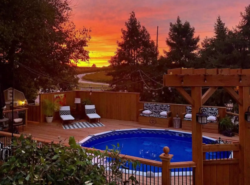 above ground pool deck ideas on budget 7