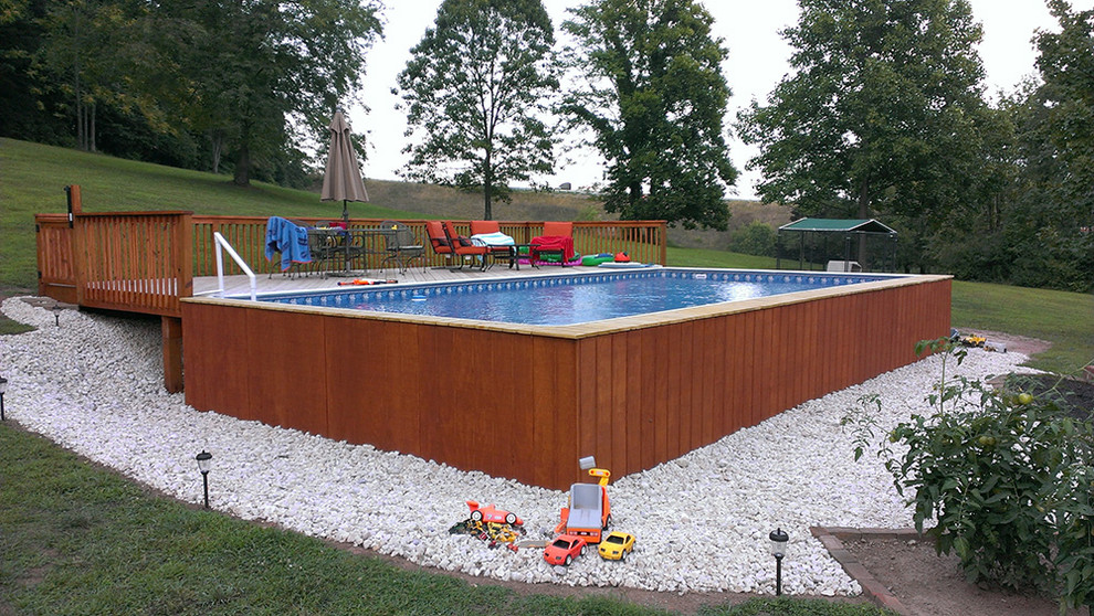 Above Ground Pool Deck Style On a Budget