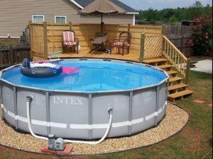 cheap above ground pool deck ideas